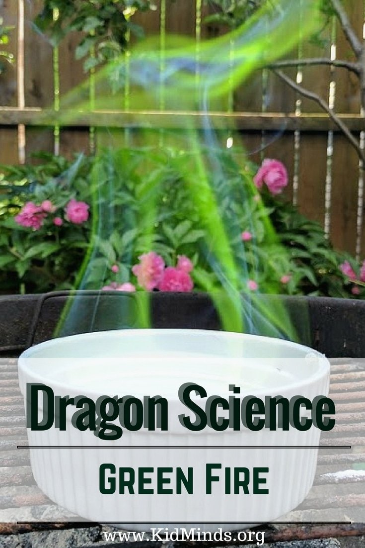 Outdoor Summer Experiment for Dragon lovers of all ages.  Make a Green Fire in your backyard.  #learningthroughplay #summerfun #activitiesforkids
