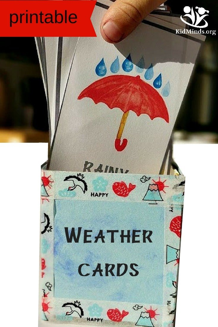 Weather Cards Printable for school or homeschool #weather #printable