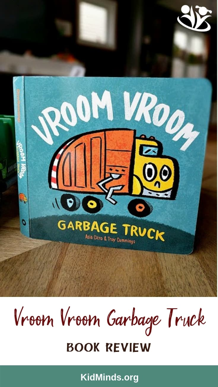 Vroom Vroom Garbage Truck is a bright and sturdy board book about a day in the life of a garbage truck. #storytime #onomatopoeia