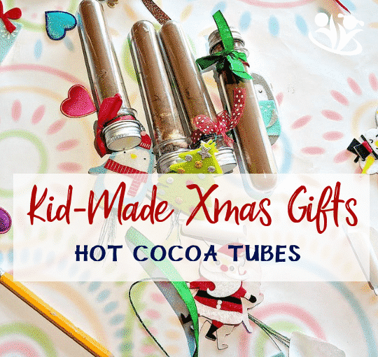 Kid-made Christmas gift idea that is a pleasure to make and fun to gift. Make holidays more meaningful with homemade gifts, like this hot cocoa kit in a single serve test tube. #kidmade #xmas #gifts