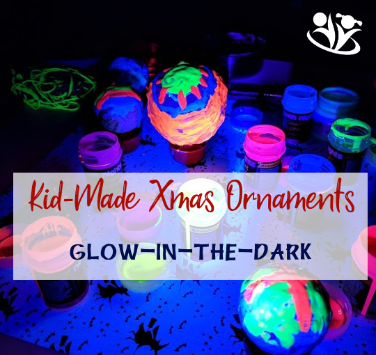 Are you looking for homemade Christmas ornaments ideas? Your kids will love to make our amazing glow in the dark ornaments using paper-mache technique and glow-in-the-dark paints. #xmas #kidmade #kidart