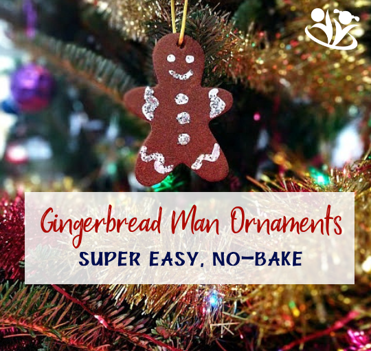 No-bakegingerbread man ornaments made with applesauce, cinnamon, and glue. Give it a try! Not only will they look gorgeous on your Christmas tree, but they're also great for gifting. #gingerbreadornaments #homemadeornaments #makingmemories #enjoyingtheday