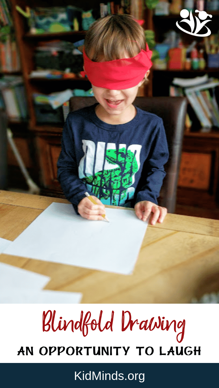 Need a happy mood booster? This no prep, do anywhere blindfold drawing activity is an opportunity to laugh with our kids in the midst of our crazy-busy days. #blindfolddrawing #challenge #fun #justFORfun #makingmemories #laughingwithkids