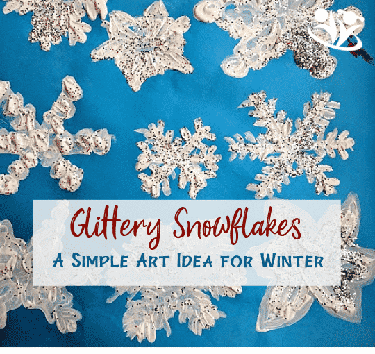 Transform your home into a winter wonderland with these glittery snowflakes. No real snow required. #winterart #snowflakes #art4kids
