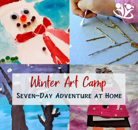 7 fantastic art ideas (+ tips) for your winter art camp at home. Not only is it a fun thing to do with kids, but it's also a great opportunity for creative expression and development of balanced thinking. #winterart #campathome #art4kids #makingmemories #funathomewithkids #wintercamp
