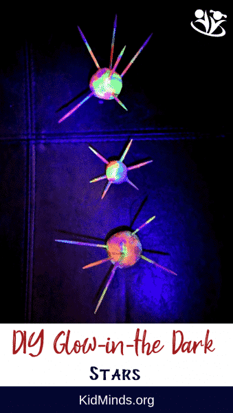 DIY stars that glow in the dark are fun and easy to make. All you need is playdough, toothpicks, and glow-in-the-dark paints.  #stars #spacecraft #glowinthedark