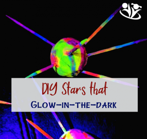DIY stars that glow in the dark are fun and easy to make. All you need is playdough, toothpicks, and glow-in-the-dark paints.   #stars #spacecraft #learningthroughplay