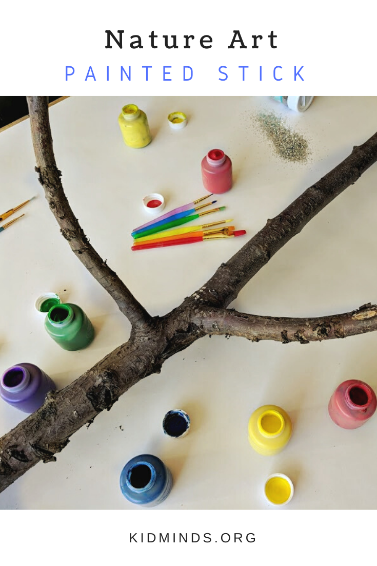 Painted tree stick is a process art and creative experimentation. It's colorful, easy, and fun for kids of all ages and their parents to do together.  #elementaryart #artprojects #artprojectsforkids #kidscreate #kidart #handsonlearning #funathomewithkids #kidminds #summeractivities #processart #natureinspired