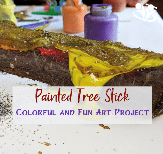 Colorful and Fun Art Project: Painted Tree Stick