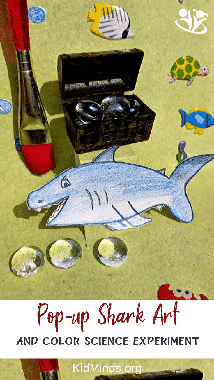 Shark art and color science experiment. Experiment with acid and alkaline compounds to obtain natural colors from red cabbage and use them to paint a world under the ocean. Add a pop-up shark and treasure chest for an extra bit of creativity and to get in the mood for shark week. #sharkart #colorscience #kids #handsonlearning #homeschooling #earlyeducation #laughingkidslearn #kidminds #sharkweek #kidscraft #popupshark #sharks #crafts