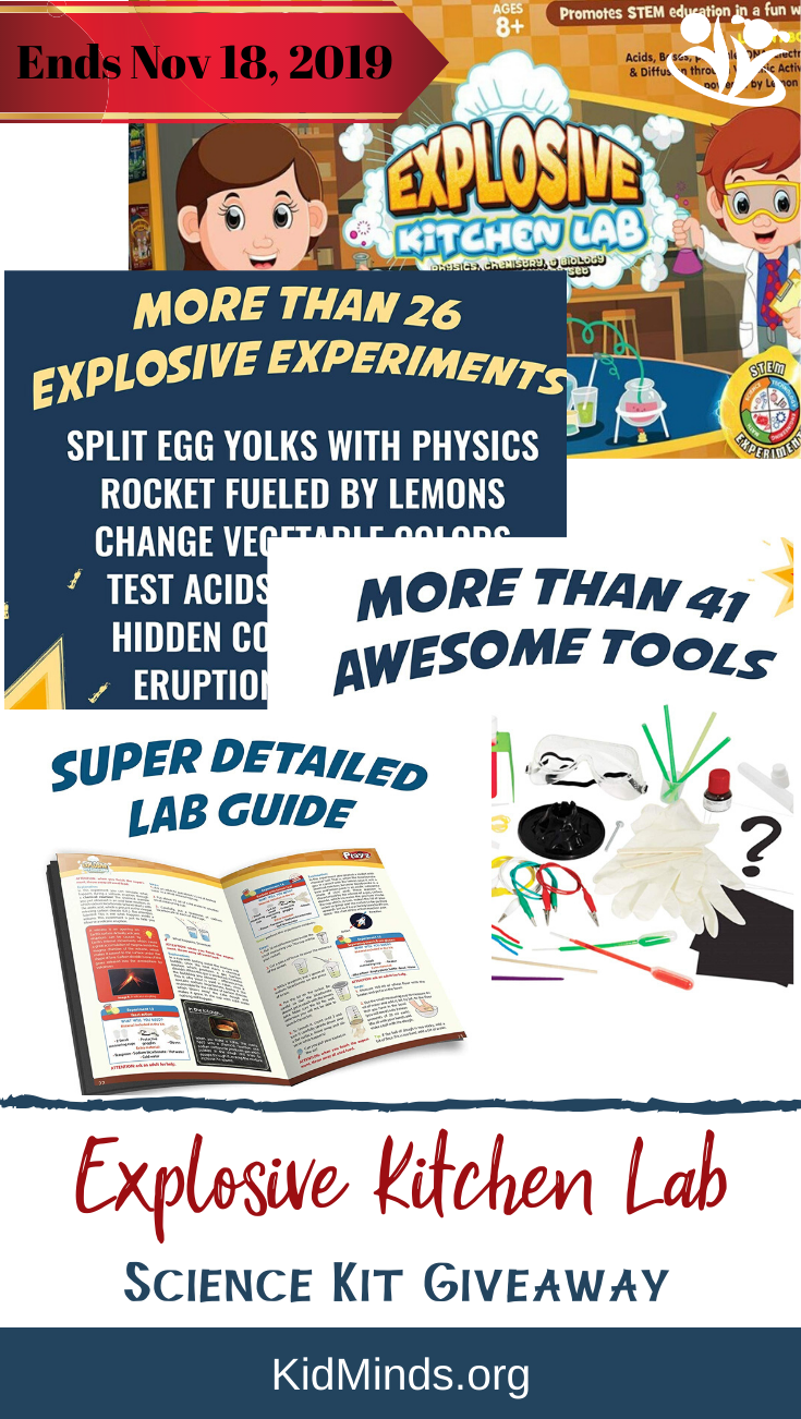 Science Kit Giveaway! Here is your chance to win Explosive Kitchen Lab for your family. 26+ experiments, 40+ science tools, & 36 pages of science notes. #sciencekit #youngscientists #DIYscience #STEAMtoys #creativity #homeschooling #smartkids #learning #child #giveaway #science #education #educationaltoys #parenting #unpluggedkids