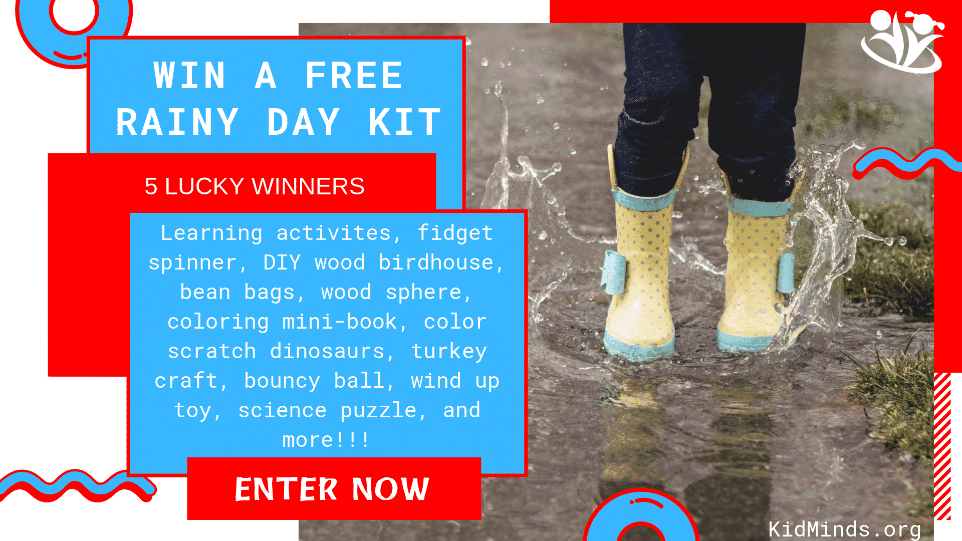 Rainy Day Kit for kids with 16 ridiculously fun projects, crafts, puzzles, experiments, and more.  #rainyday #kidsactivities #rainydayactivities #creativekids #boredombusters #learningallthetime #handsonlearning #kidminds