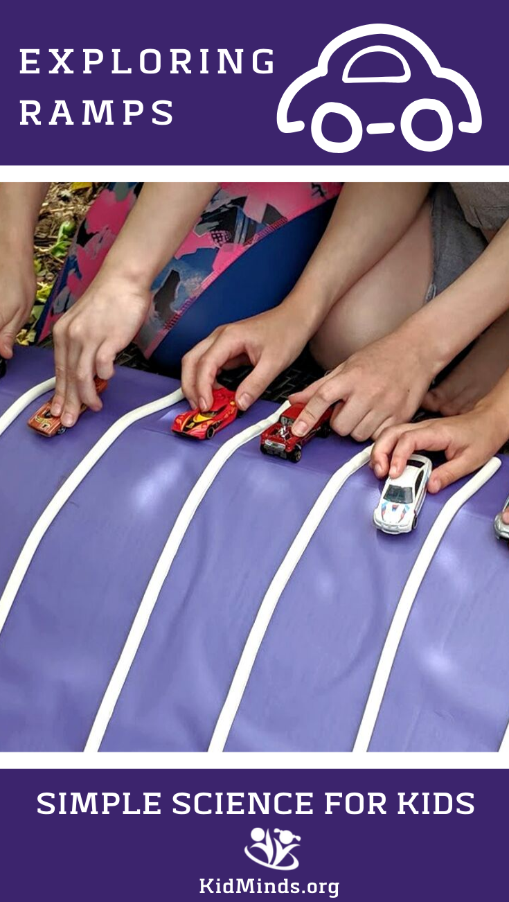 Exploring ramps with match cars is an exciting, outside or inside, activity for kids of all ages. All you have to do is build a ramp (or two) with things you already have in the house and race your match cars.  We have included a printable to make it even more fun. #kidsactivities #matchcars #carrace #printable #handsonlearning #ramps #scienceforlittlekids #learningallthetime #funathomewithkids