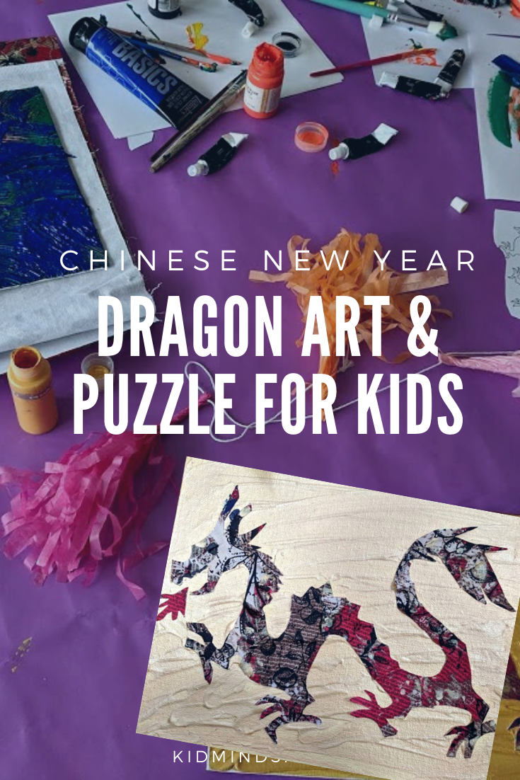 Multimedia Dragon Art to get you and your kids excited for Chinese New Year. #dragons #multimediart #dragoncraft #kidactivities #chinesenewyear #learningathome #handsonlearning #forkids #craftykids #artforkids