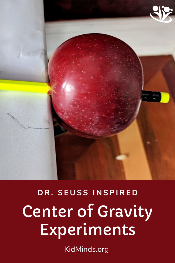 Explore balance and gravity with two clever science experiments that use everyday household items. They will show kids that science can be almost like magic! #handsonlearning #kidsactivities #DrSeussactivities #laughingkidslearn #kidminds #earlylearning #education #homeschooling #funlearningforkids  #creativelearning #gravity #centerofgravity #learningwell