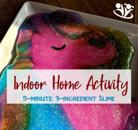 Looking for an easy activity to keep your kids busy? Basic slime requires only three ingredients and takes five minutes to set up. Bookmark this page for your next long day at home. #sensory #slime #keepingkidsbusy #formoms #kidsactivities #learningathome