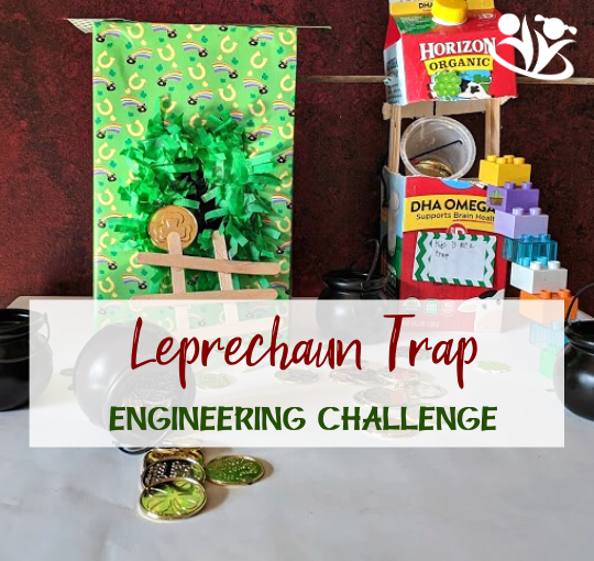 St. Patrick's Day Engineering Challenge will get kids thinking creatively, practicing their problem-solving skills, and will add a little magic to this often-overlooked holiday. Free Printable STEAM Challenge Cards offer a fun way to explore and experiment with Leprechaun traps, rainbows, pots of gold, and more. #kidsactivities #kidminds #StPatricksDay #creativekids #creativelearning #handsonlearning #engineeringchallenge #earlylearning #laughingkidslearn #STEAM #scienceforlittlekids #learningwell #engineeringactivitiesforkids