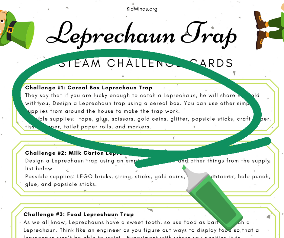 Leprechaun Trap Engineering Challenge will get kids thinking creatively, practicing their problem-solving skills, and will add a little magic to this often-overlooked holiday. Free Printable STEAM Challenge Cards! #kidsactivities #kidminds #StPatricksDay #creativekids #creativelearning #handsonlearning #engineeringchallenge #earlylearning #laughingkidslearn #STEAM #scienceforlittlekids