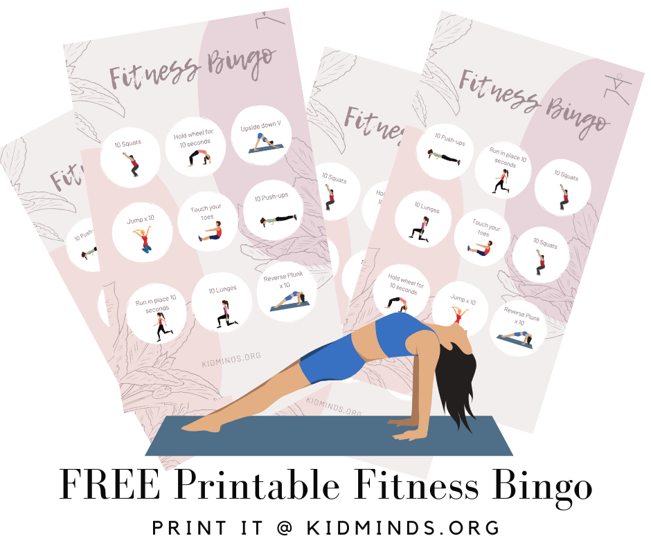 Easy indoor fitness activities to help highly energetic kids burn off some energy and get them moving with a purpose before you lose your mind. #fitnessbingo #freeprintable #indoorenergyburner #funathomewithkids #kidminds