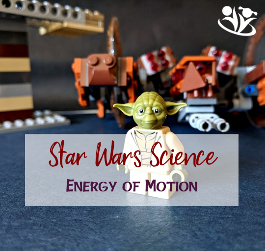 Delightful Star Wars Science experiment. Introduce kids to the concepts of potential and kinetic energy with the help of Yoda, rump, and a Star Wars LEGO wheel droid. #creativelearning #STARWARS #kidsactivities #handsonlearning #kidminds #scienceforkids #LEGO