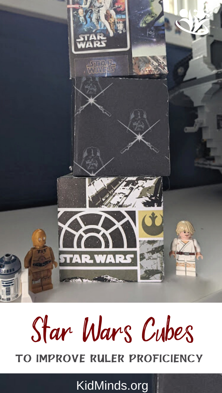 This fun project uses Star Wars-themed paper, a ruler, and a pencil to draw and create a 3-D cube that can be used for room decor, party favors, toys, or gifts. #craftykids #creativekids #handsonlearning #kidminds #earlyeducation #elementarymath #laughingkidslearn #freeprintable #StarWars #papercube