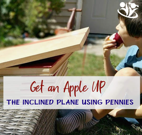 How many pennies does it take to get an apple up the inclined plane? It's a fun science experiments you can do outside. #scienceforlittlekids #STEAM #kidminds #funscience #fall #apples