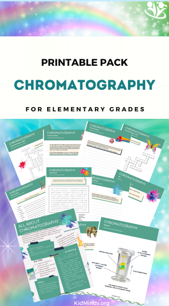 Chromatography is a super-fun way to learn about science of colors. Kids love it! In this pack you will find science, charts, creative writing ideas, art, crossword puzzles by level, and word search.
