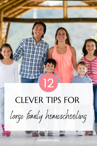 Twelve tips for managing large family homeschooling without losing your mind. #homeschooling #largefamily